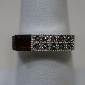 Sterling Silver (.925) Marcasite & Garnet Ring
